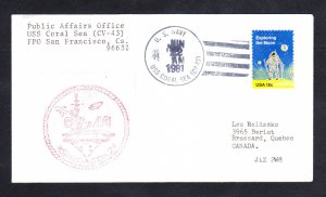 Aircraft Carrier USS CORAL SEA CV-43 1981 Naval Cover