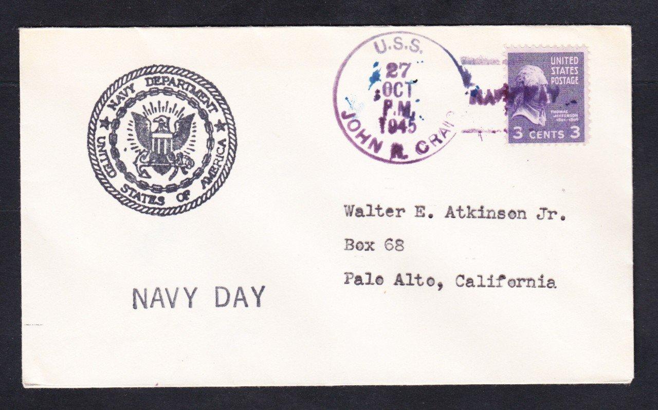 Destroyer USS JOHN R. CRAIG DD-885 NAVY DAY 1945 Naval Cover