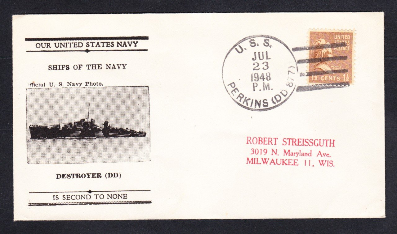 Destroyer USS PERKINS DD-877 Photo Cachet 1948 Naval Cover