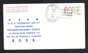 Destroyer Tender USS PIEDMONT AD-17 DECOMMISSIONING Naval Cover