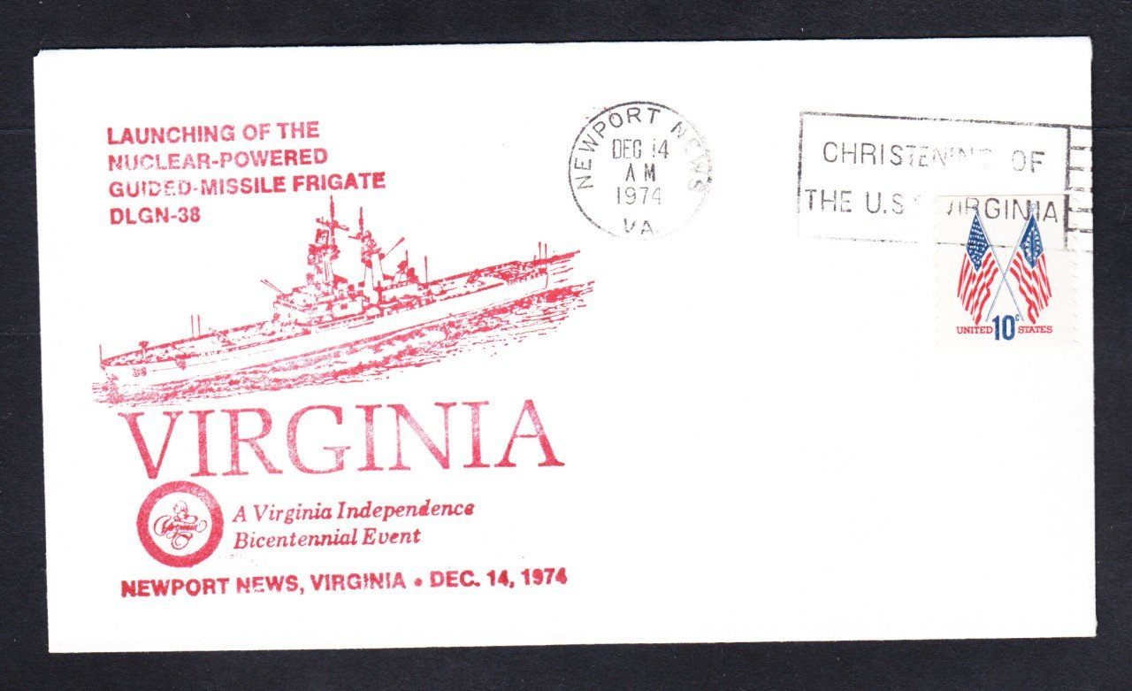 Nuclear Powered Cruiser USS VIRGINIA CGN-38 LAUNCHING Naval Cover