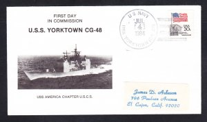Guided Missile Cruiser USS YORKTOWN CG-48 COMMISSIONING Naval Cover