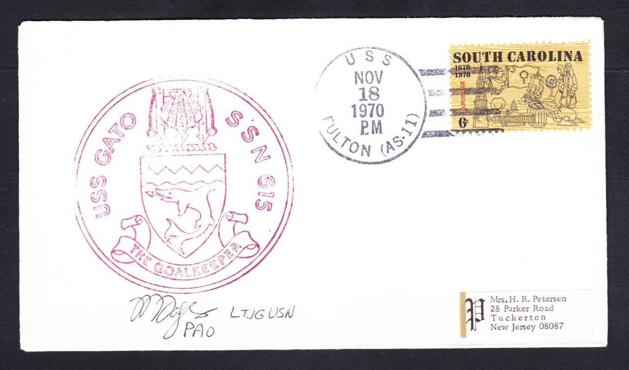 Submarine USS GATO SSN-615 PAO Autograph Naval Cover