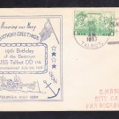 Destroyer USS TALBOT DD-114 19th Anniversary 1937 Naval Cover