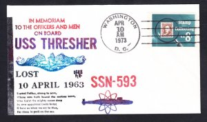 Sunk Submarine USS THRESHER SSN-593 10th Anniversary MEMORIAL Naval Cover