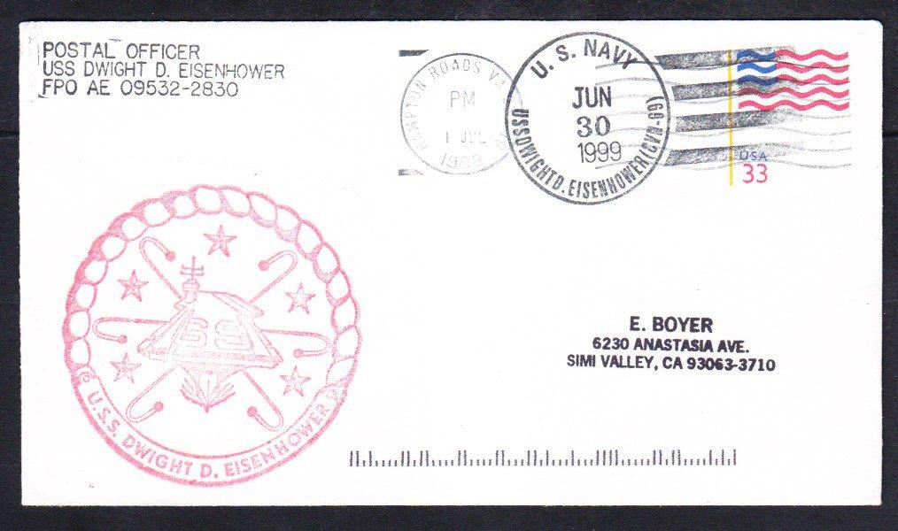 Aircraft Carrier USS EISENHOWER CVN-69 Hampton Roads VA 1999 Naval Cover