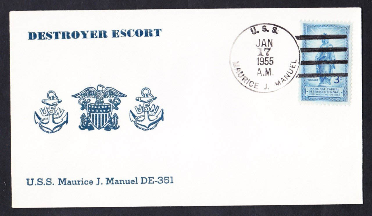 Destroyer Escort USS MAURICE J. MANUEL DE-351 1955 Naval Cover