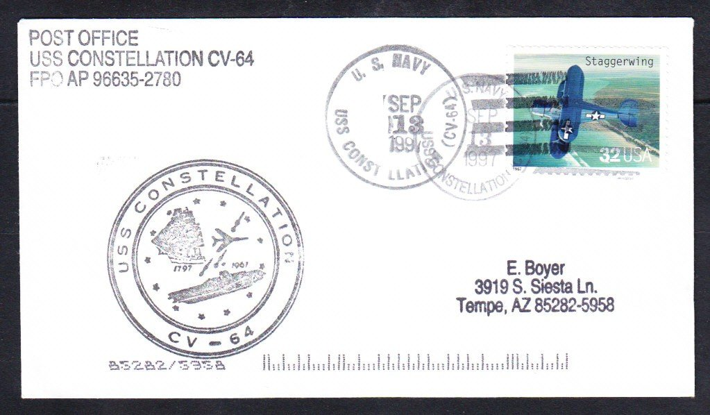 Aircraft Carrier USS CONSTELLATION CV-64 1997 Naval Cover