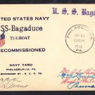 Tugboat USS BAGADUCE AT-21 RECOMMISSIONING 1938 Naval Cover