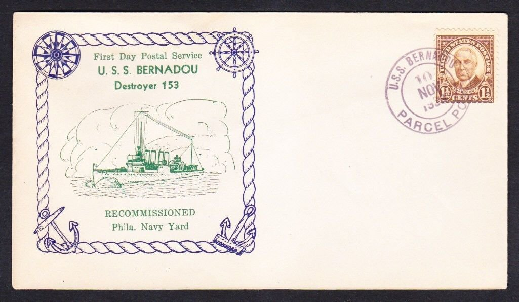 Destroyer USS BERNADOU DD-153 FDPS RECOMMISSIONING 1939 Naval Cover