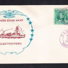 Destroyer USS BROOME DD-210 1940 Registered Mail Naval Cover