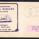 WWII Transport USS BURROWS AP-6 COMMISSIONING 1940 Naval Cover