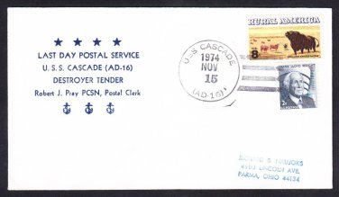 Destroyer Tender USS CASCADE AD-16 LDPS Naval Cover