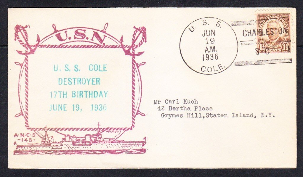 Destroyer USS COLE DD-155 17th Birthday Charleston SC 1936 Naval Cover