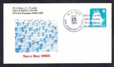 Destroyer USS CUSHING DD-985 NAVY DAY Naval Cover