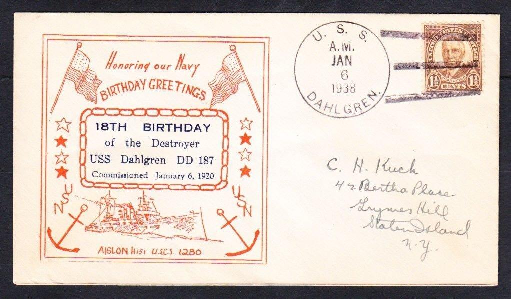 Destroyer USS DAHLGREN DD-187 18th Birthday 1938 Naval Cover