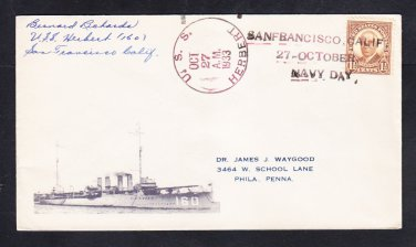 Destroyer USS HERBERT DD-160 Navy Day 1933 Naval Cover MhCachets 1 Made