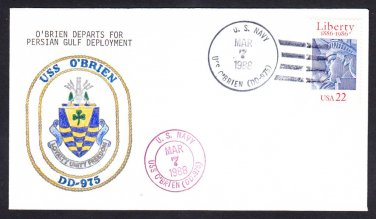 USS O'BRIEN DD-975 Persian Gulf Deployment Colored Insignia Naval Cover