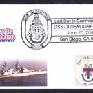 Destroyer USS OLDENDORF DD-972 DECOMMISSIONING Naval Cover
