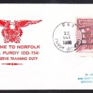 Destroyer USS PURDY DD-734 Reserve Training Duty Norfolk VA Naval Cover