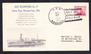 Cruiser USS RICHMOND CL-9 Navy Day 1934 Naval Cover MhCachets Only 1 Made