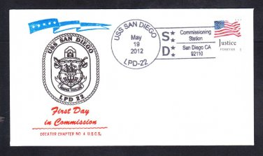 Amphibious Ship USS SAN DIEGO LPD-22 COMMISSIONING Decatur Chapter Naval Cover