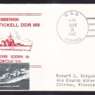 Destroyer USS STICKELL DDR-888 Greetings From Norfolk VA Naval Cover
