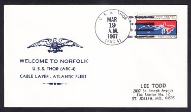 Cable Repair Ship USS THOR ARC-4 Welcome to Norfolk VA Naval Cover