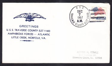 Amphibious Tank Landing Ship USS TRAVERSE COUNTY LST-1160 Norfolk Naval Cover