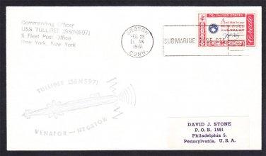 Submarine USS TULLIBEE SSN-597 Groton Sub Base 1961 Naval Cover