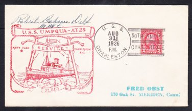 Tug USS UMPQUA AT-25 Charleston SC Earthquake Anniversary 1936 Naval Cover
