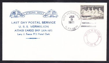 Amphibious Attack Cargo Ship USS VERMILLION LKA-107 LDPS Naval Cover