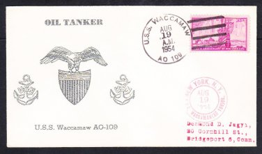 Fleet Olier USS WACCAMAW AO-109 Thermographed Oil Tanker Naval Cover