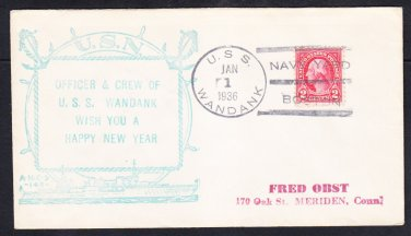 Tugboat USS WANDANK AT-26 New Year 1936 Boston MA Fancy Cancel Naval Cover