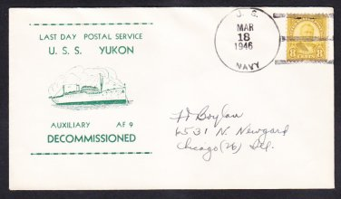 Stores Ship USS YUKON AF-9 DECOMMISSIONING & LDPS 1946 Naval Cover