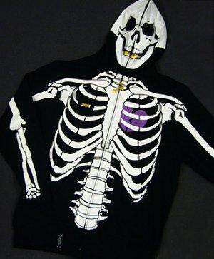 Blk LRG Dead Serious Hoodie - (Mesh Eyes, Glow in the Dark Skeleton, Full Zip-Back)