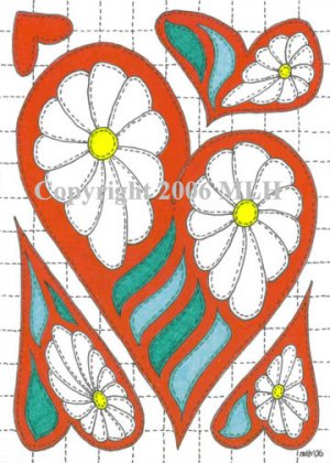 Applique Heart (aceo print)