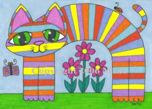 Striped Cat in the Garden (aceo print)