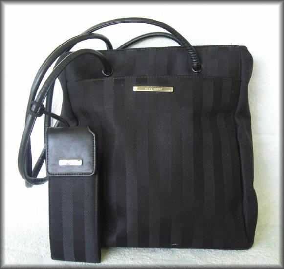 Nine West  Purse Black Striped Fabric Tote Handbag - Looks Unused - FREE Shipping
