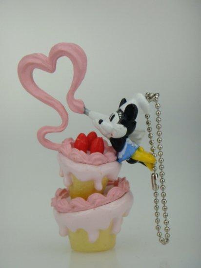 Disney Re-Ment Minnie Mouse Birthday Cake Phone Charm Strap Keychain Figure