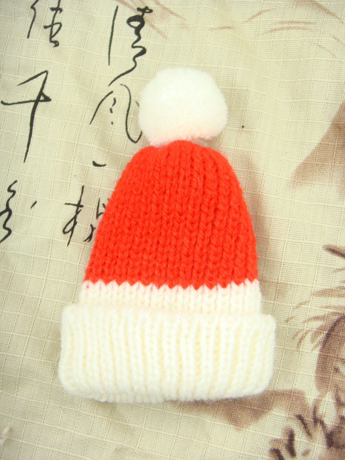 BJD Doll 1/8 Tiny Size Xmas Christmas Red and White Wool Hat