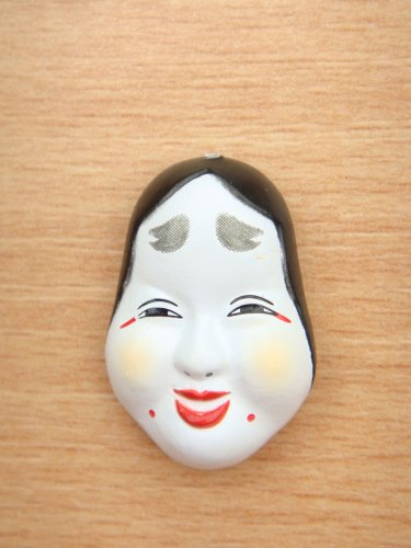 Japanese Mini Noh Otafuku Mask Kabuki Kagura Traditional Okame Mask Model Figure