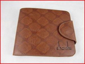Shaishi Men's Brown Designer Leather Bi-Fold Wallet