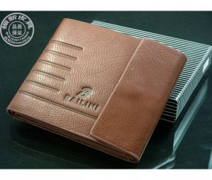 Men's Bailini Designer Brown Leather Bi- Fold Wallet