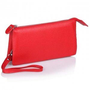 Red or Black Leather wristlet clutch bag