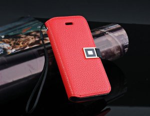 iphone 5 RED Leather Card Wallet Case Cover