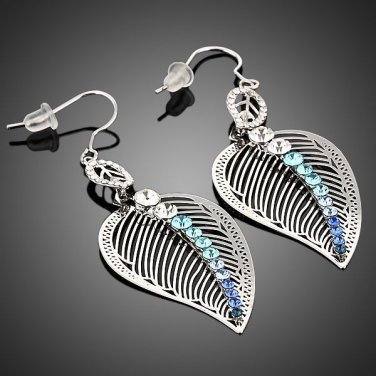 Platinum Plated Multicolor Austrian Crystal Pierced Leaves Drop Earrings