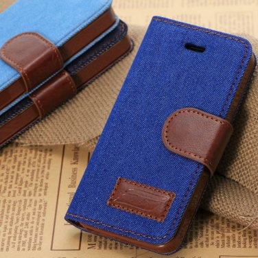 Blue Jean Leather Design Wallet Case For iphone 4