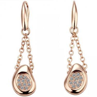 18k Rose Gold Plated Austrian Crystal Pierced Drop Earrings