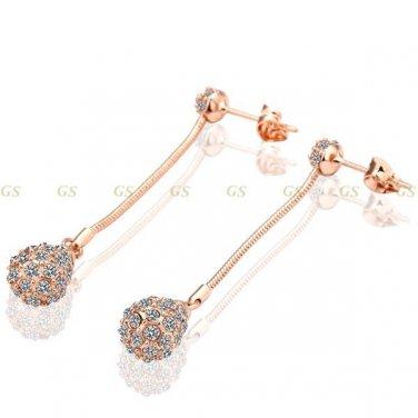18k Gold Plated Austrian Crystal Drop Pierced Earrings